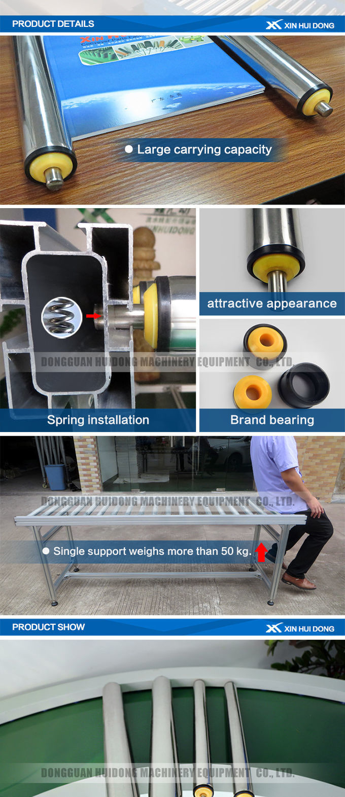 Customized Size Lineshaft Roller Conveyor For Material Handling / Sorting