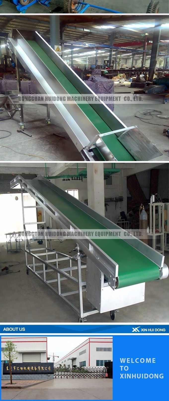 Industrial Equipment Food Grade Conveyor , Inclined Cleated Belt Conveyor