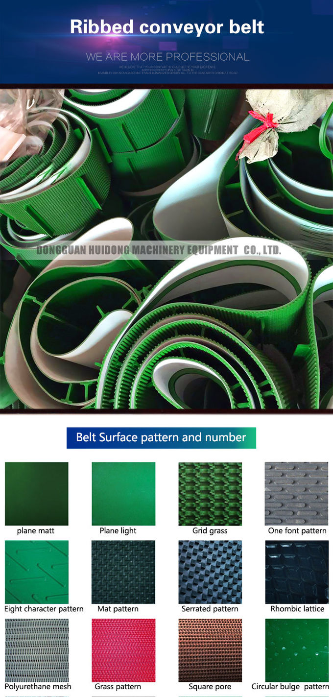 Green Rubber Conveyor Belt PVC Pattern Conveyor Belt Ribbed Custom Design